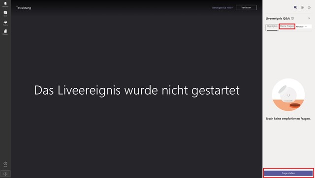 Screenshot MS Teams Fragen stellen