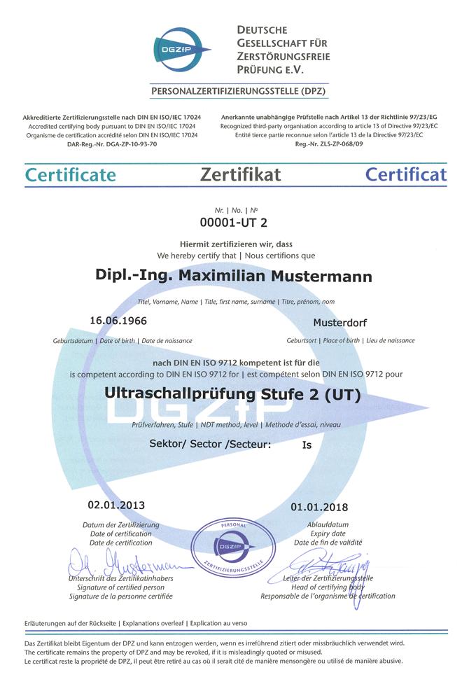 Muster-Zertifikat und Ausweis