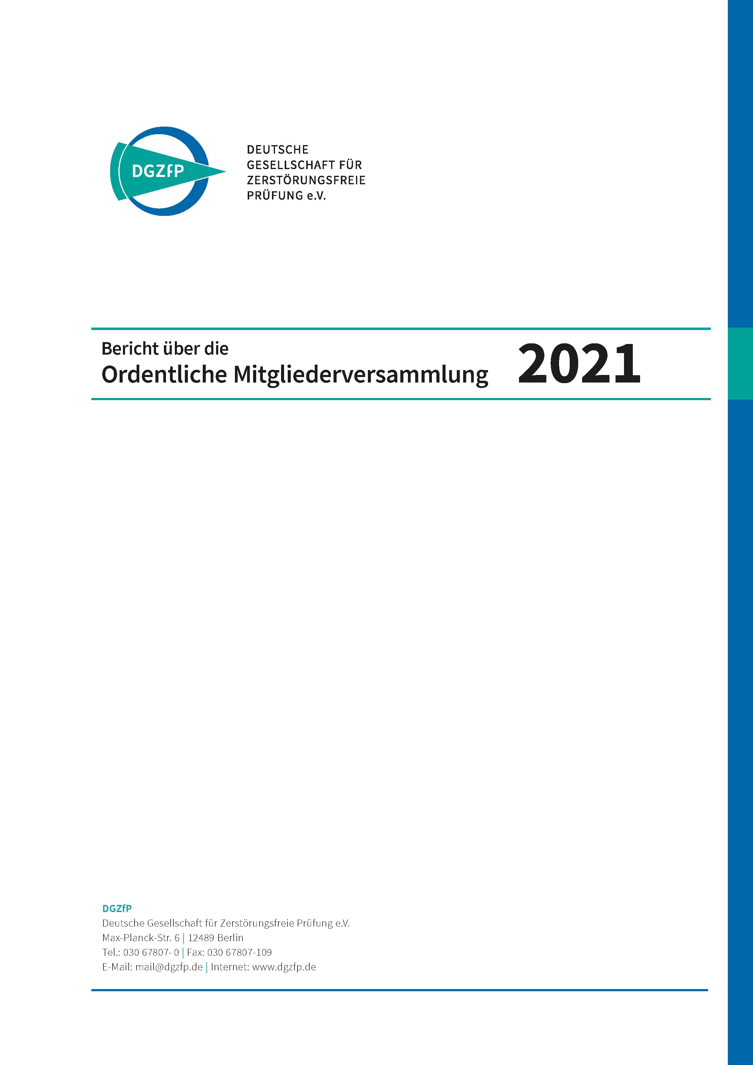 Deckblatt Bericht Mitgliederversammlung 2021